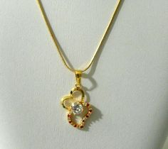 Yellow Gold Plated Necklace Womens Simulated Ruby Topaz Gemstone Heart  24in    #Pendantnecklace AUCTION