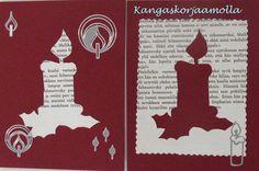 Joulukortit vanhan kirjan sivuista christmas cards made from old books http://kangaskorjaamolla.blogspot.fi/2015/11/joulukortit.html
