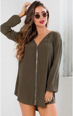 Come Undone Dress in Khaki | SHOWPO Fashion Online Shopping