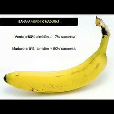 #banana #verde o #madura   La #fruta posee diferente composicion de acuerdo a su maduracion. Verde: Contiene mas #almidon (polisacarido de moleculas de glucosa). El almidon libera #energia de a poco (tarda mas en absorberse) y ademas contiene mayor cantidad de #fibra  Beneficios Aumenta el transito intestinal Es buena para el colesterol Genera mayor sensacion de saciedad por el contenido de fibra Regenera la flora intestinal Es beneficiosa para personas con#diabetes (por la absorcion lenta)…