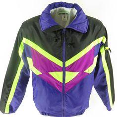 9ad46524bff Vintage 90s Obermeyer Bingo Ski Jacket Mens M Deadstock Neon Hooded Retro