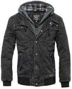 Brandit Dayton Blouson Jacke schwarz im bw-online-shop Rugged Style, Biker Look, Leather Men, Leather Jacket, Herren Style, Herren Winter, Hooded Sweater, Gray Jacket, Jacket Men