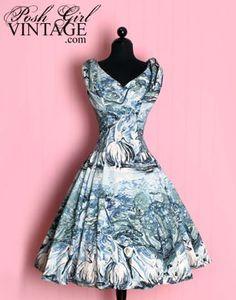 amazing 1950's print dress