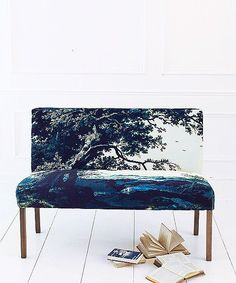 Our exclusive range of made-to-order upholstery includes our fabulous Soho Loft banquette seat in Trees Two Blue sumptuous printed cotton velvet