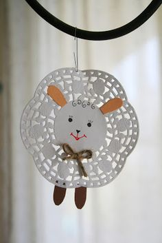 Spring lamb doily craft for kids