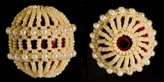 """Beaded Bead PATTERN lacy large asteroid,  good for pendant or focal bead """"Businomaniya"""""""