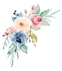 Bouquet perfectly for holiday, wedding, greeting card and invitation. Isolated on white. - Buy this stock illustration and explore similar illustrations at Adobe Stock Wreath Watercolor, Watercolor Cards, Watercolor Print, Free Watercolor Flowers, Flower Frame, Flower Art, Havanna Party, Wreath Drawing, Peony Rose