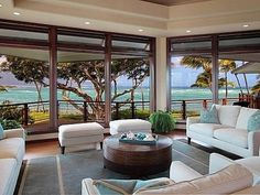 Magnificent North Shore Beachfront Home Oceanfront Residence in Hawaii Displaying A Creative Design Approach Style At Home, Interior Exterior, Interior Design, Modern Interior, Room Interior, Beachfront House, Hawaiian Homes, Floor To Ceiling Windows, Big Windows
