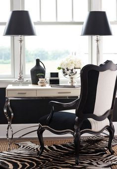hamptons designer-desk-showhouse - black and white chair with a traditional desk