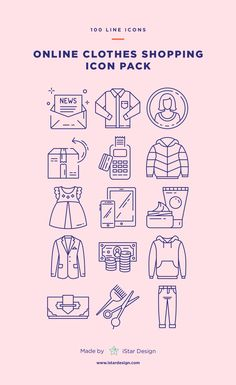 Online Clothes Shopping Icons Set made by iStar Design. Series of 100 vector line icons, created by influence of online shopping and e-commerce. Neatly organized icon, file and layer structure for better workflow experience. Carefully handcrafted icons usable for digital design or any possible creative field. Suitable for print, web, symbols, apps, infographics.