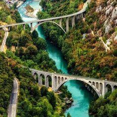 Foto: Solkan's Bridge near Nova Gorica - Slovenia– www.slovenievastgoed.nl - Real Estate Slovenia