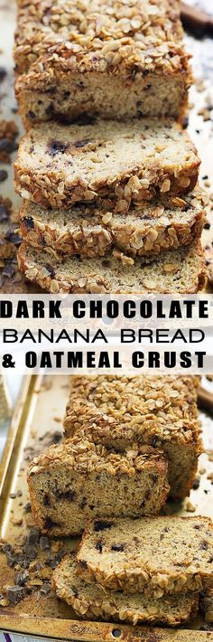 Dark Chocolate Chunk Banana Bread with Oatmeal Streusel is tender, sweet, filled with dark chocolate chunks and a crunchy, irresistible streusel topping!