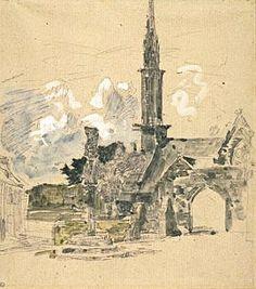 """""""L'église et le calvaire de L'Hôpital-Camfrout"""",   Eugène Boudin"""