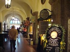 Salzburg - Augustiner Braustubl - brewery/food market with stalls of different types of food - indoor & outdoor seating