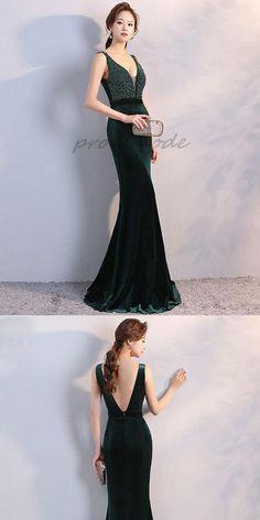 Elegant Dark Green Velvet V Neck Long Prom Dress With Sequin, Evening Dress,PDY0353#prom dress#