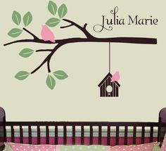 Tree Branch Wall Decal with hanging Birdhouse and Chubby Birds