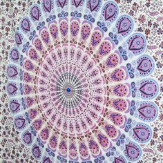 Twin White and Blue Indian Hippie Mandala Beach Tapestry Wall Hanging