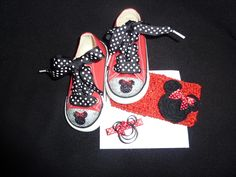 Minnie Mouse Baby Bling Converse with matching Minnie Mouse Clippies and head band!