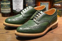 Tricker's Keswick in green aniline calf with Dainite sole. Brass eyelets and a natural welt round out the details.