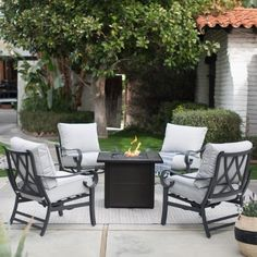 Outdoor Hanover Traditions 5 Piece Tile Top Fire Pit Chat Set, Patio  Furniture   TRADTILE5PCFP | Products | Pinterest | Fire Pit Sets And  Products