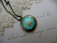 """Glow in the Dark fillable locket """"Frosted Gold Lace"""" Steam Punk, Gothic, Fairy, Pagan, Wiccan, World of Warcraft, Celtic, Spiritual,"""