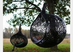 Hanging Chair made of Volcanic Rock by Maffam Freeform. I can already imagine myself curled up reading a book here. Contemporary Outdoor Chairs, Hanging Hammock Chair, Hanging Chairs, Swing Chairs, Patio Chairs, Room Chairs, Lounge Chairs, Cane Chairs, Hanging Beds
