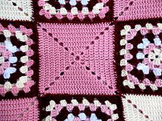 My free granny square pattern is one of my favourite rugs. These type of blanket. : My free granny square pattern is one of my favourite rugs. These type of blanket designs make very striking bedspreads, as shown here. Crochet Afghans, Bag Crochet, Crochet Motifs, Crochet Blanket Patterns, Crochet Crafts, Crochet Stitches, Crochet Projects, Knitting Patterns, Ravelry Crochet