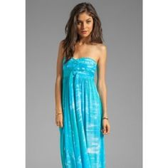 Tiare Hawaii Jasmine Maxi Dress Beautiful turquoise tie-dye maxi dress purchased in Hawaii. Worn only a few times.  Dresses Maxi