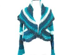 Blue circle shrug large shawl collar sweater crochet by pzmdesigns