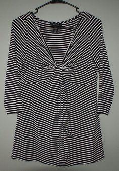 White House Black Market striped rayon mix shirt 3/4 sleeves womens size M #WhiteHouseBlackMarket #Blouse #Casual
