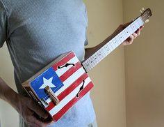 Cigar Box Guitar No. 32 Americana Acoustic & Electric Combination. , via Etsy.