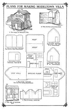 """free Cardboard House Patterns   ... Possum Studio: Family Fun Project: A """"Modeltown"""" Villa Out of Paper"""
