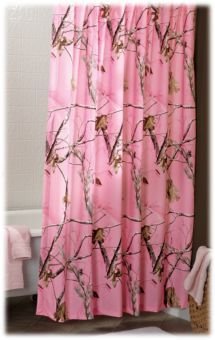 Bass Pro ShopsR RealtreeR All Purpose Pink Camouflage Shower Curtain