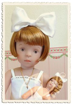 """Lotte with her doll Linchen (Käthe Kruse Minouche / Sylvia Natterer). It's her 6th birthday and her aunt has fulfilled her wish and gave her this lovely Käthe Kruse doll """"Linchen""""..."""