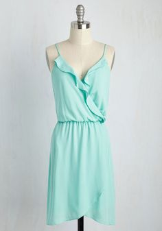 Missing Piece of the Ruffle Dress - Blue, Solid, Casual, Sundress, A-line, Sleeveless, Spring, Woven, Good, Mid-length