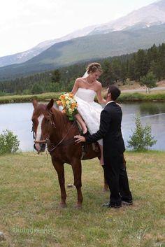 Wedding at Aspen Lodge Resort & Spa, on horseback by Beaver Mountain Lake