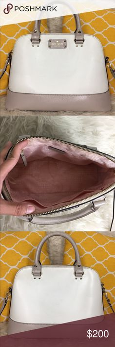 "🌸FLASH⬇️🌸Kate Spade All Leather Two Tone Satchel 🌷Authentic🌷Good condition. Minimal sign of wear. Some marks inside and outside. Light wear at the bottom. All parts present and functional. Features top handle, removable/adjustable strap, zip top to close and 3 pockets inside. Great for work/school/travel or everyday purse. Gorgeou neutral color. Still a beautiful purse to carry. Carry it by hand/arm, shoulder or crossbody. Don't be shy to make an offer💕Dimensions: L13"" H9.5"" Bottom…"