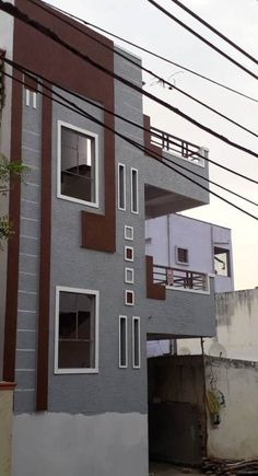 ideas apartment building elevation bedrooms for 2020 House Outside Design, House Front Design, Modern House Design, 3 Storey House Design, Bungalow House Design, 2bhk House Plan, Building Elevation, House Elevation, Facade Design