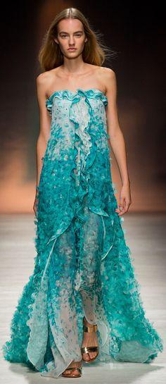 Blumarine RTW SS 2015 | turquoise strapless flowy gown