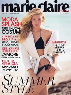Elsa Hosk sports a bikini on the June 2015 cover of Marie Claire Italy