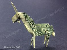 Dollar Bill Origami UNICORN - Great Gift - Mythical Animal Creature Made of Money from VincentTheArtist on Etsy. Saved to Harry Potter. #money #lol #unicorn.