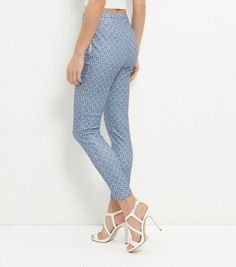 Blue Tile Print High Waisted Slim Leg Trousers | New Look