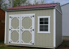 Grandview Buildings.  10x12 Garden Shed.  Red steel roof.  Smartside siding.  Color: Wicker.  Trim: White.  We build custom sheds!  Minnesota Made, Minnesota Owned, Minnesota Nice!