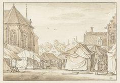 Markt op de Mariaplaats te Utrecht, Herman Saftleven, 1619 - 1685
