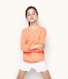 SWEATSHIRT WITH TEXT DESIGN - Jackets - Girl - Kids   ZARA United States