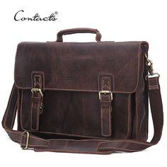 """Good price CONTACT'S 2017 14"""" Laptop Messenger Bags Vintage Genuine LeatherMen Shoulder Bag With Middle Zipper Pocket Leather Strap Men Bag just only $86.41 with free shipping worldwide  #crossbodybagsformen Plese click on picture to see our special price for you"""