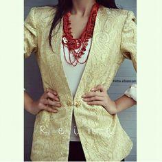On Sale ⛔⛔⛔ Was 55 JDs Now 20 JDs +962 798 070 931 +962 6 585 6272  #ReineWorld #BeReine #Reine #LoveReine #InstaReine #InstaFashion #Fashion #LoveFashion #FashionSymphony #Amman #BeAmman #Jordan #LoveJordan #GoLocalJO #ReineWonderland #Blazer #Gold #GoldenBlazer #Coat