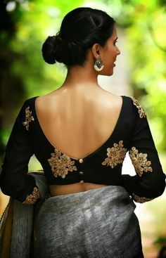 Designer blouse designs with beautiful ideas for neck and back. Browse latest blouse models, saree, patterns online on Happy Shappy Black Blouse Designs, Traditional Blouse Designs, Sari Blouse Designs, Designer Blouse Patterns, Bridal Blouse Designs, Blouse Styles, Sari Design, Diy Design, Raw Denim