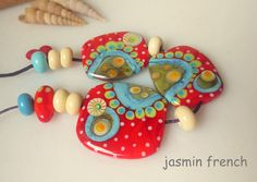 Jasmin french ' magic forest ' lampwork focal beads set ooak