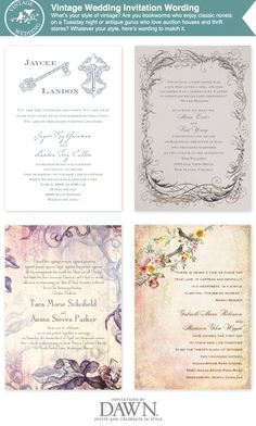 vintage themed wedding invitation wording- even like some of these backgrounds. May be a good theme too?